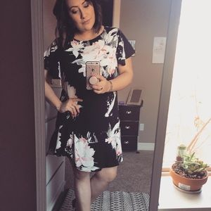 Black Floral Ruffle Minidress by LEITH
